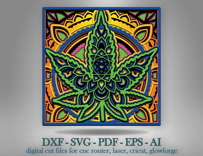 Download Cannabis Shadow Box Svg 3d Cannabis Mandala Svg Cut Files Laser Cut Files Multilayer Cricut Svg Glowforge File Craftmegood